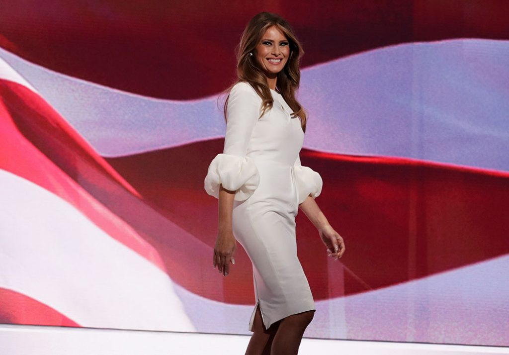 CLEVELAND, OH - JULY 18:  Melania Trump, wife of Presumptive Republican presidential nominee Donald Trump, walks on stage to deliver a speech on the first day of the Republican National Convention on July 18, 2016 at the Quicken Loans Arena in Cleveland, Ohio. An estimated 50,000 people are expected in Cleveland, including hundreds of protesters and members of the media. The four-day Republican National Convention kicks off on July 18.  (Photo by Chip Somodevilla/Getty Images)