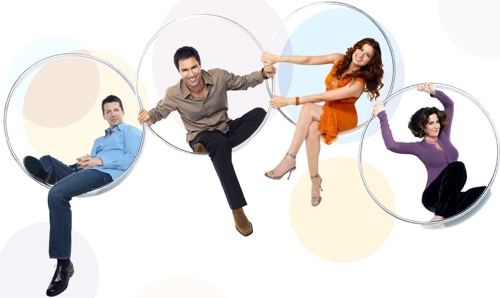 Sean Hayes kao Jack, Eric McCormack kao Will, Debra Messing kao Grace i Megan Mullally as Karen