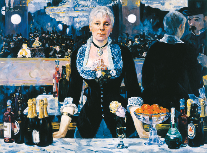 "Slika umetnice Kathleen Gilje ""Linda Nochlin in Manet's bar at the Folies Begere"", 2005. godina"