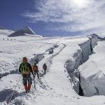 Island Peak,Nepal-April 07,2012:The Climbers are climbing a snowy ridge trail of the Island Peak (Imja Tse) summit(6189m) in the Himayala Everest region,Nepal.